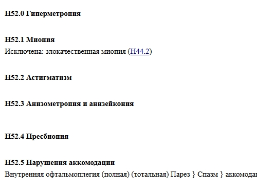 Классификация мкб 10 для заболевания астигматизм